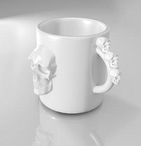 3d obj cup design skulls
