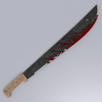 bloodied machete 3d model