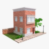 stylized cartoon building 3 max