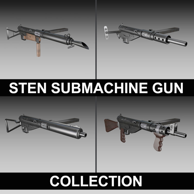 3d model british sten submachine gun