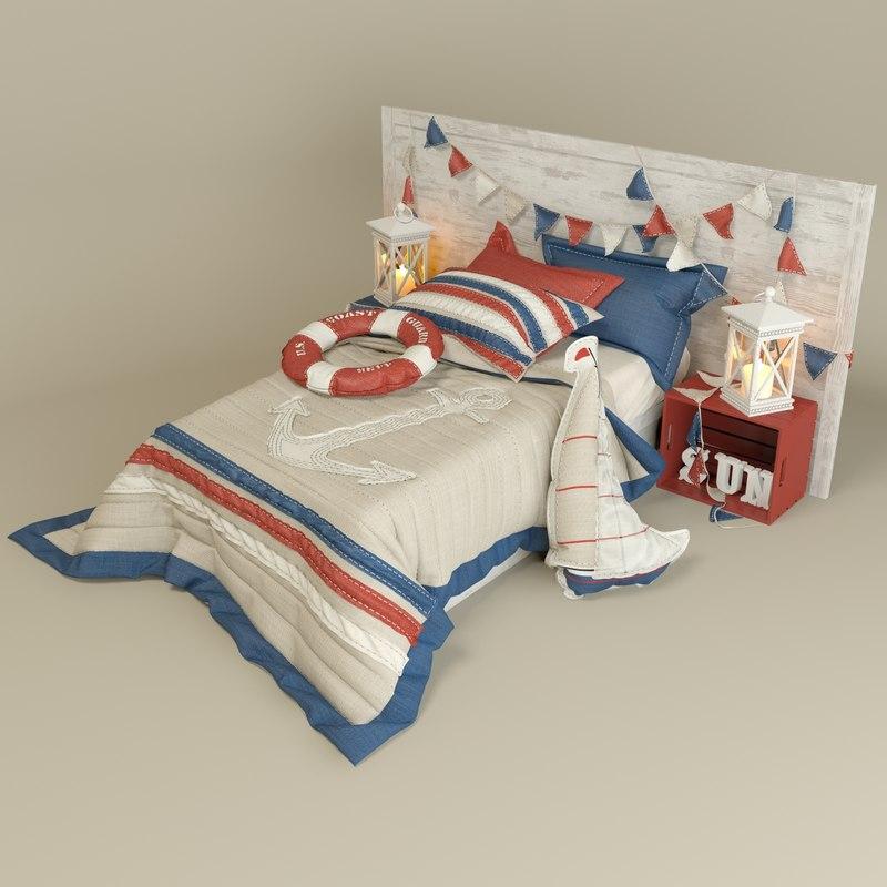 3d model nautical bed