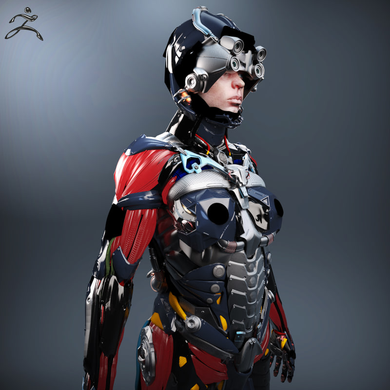 female character sci-fi obj