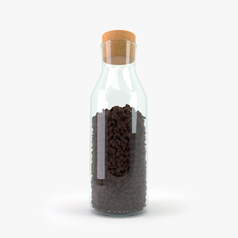 glass jar coffee beans 3d model