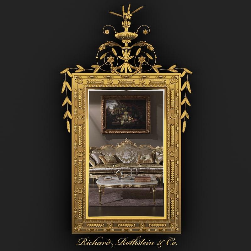 3d neoclassical gilt mirror