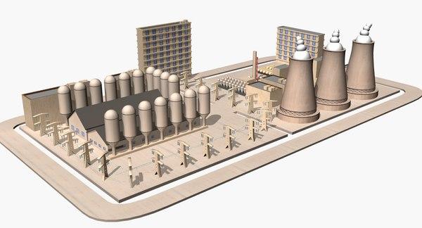 3d nuclear power plant model