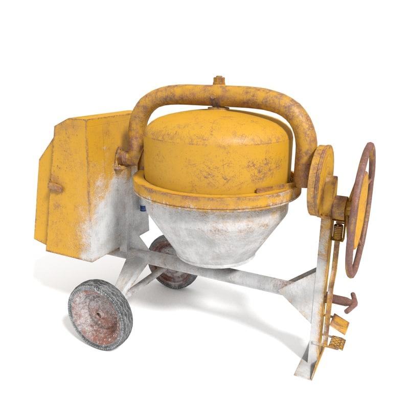 concrete cement mixer 3d obj
