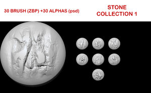 Stone brush collection 1 for ZBrush