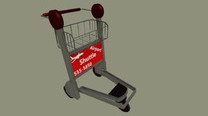 3d model of baggage trolley