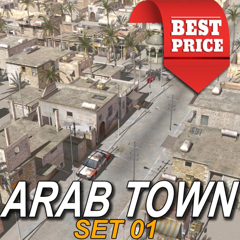 3d model arab town street multi