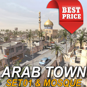 arab town-set01 mosque town 3d model