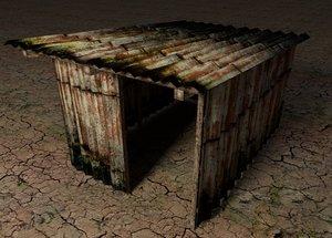 3d 3ds old metal shack