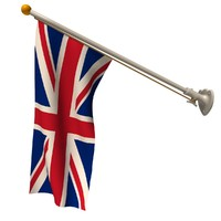 3d model wall union jack flag