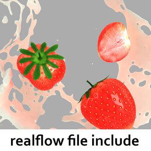 splash strawberries realflow flow 3d obj