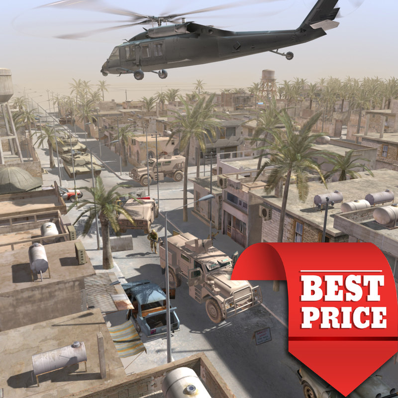 3d arab town war scenario