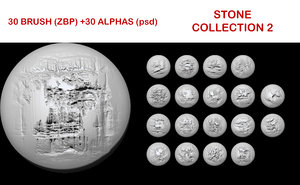 Stone brush collection 2 for ZBrush