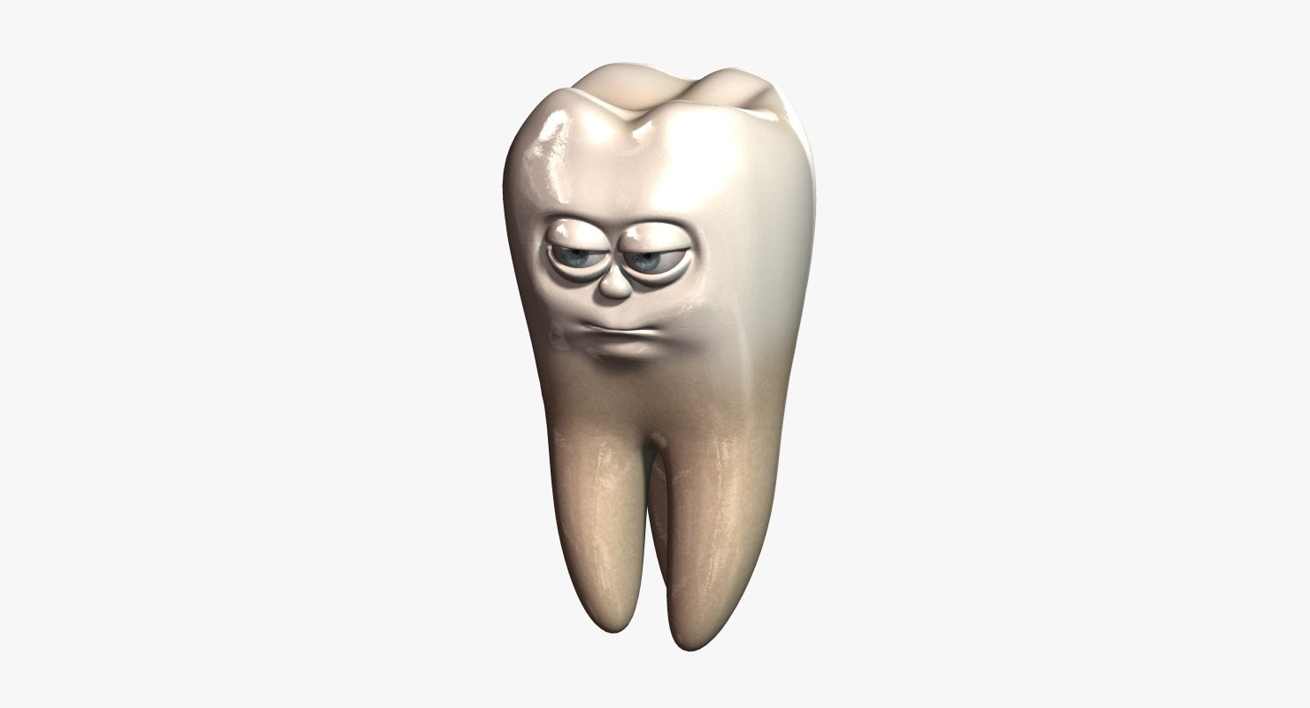 3d model tooth cartoon character