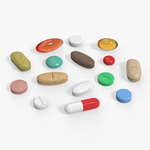medicine tablets capsules 3d model