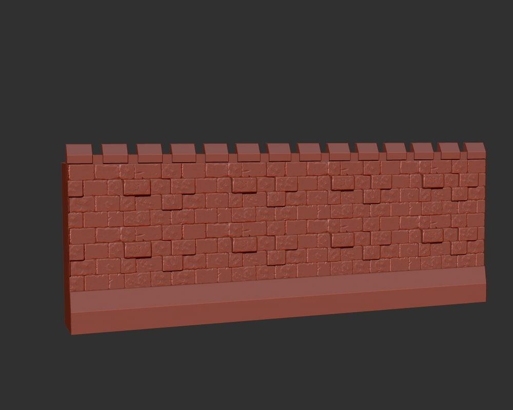 castle wall 3d obj