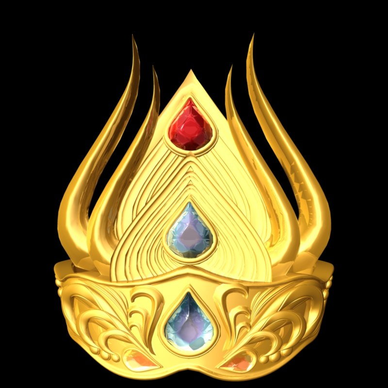 3d model of gold crown