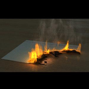 3d model of fumefx burning paper