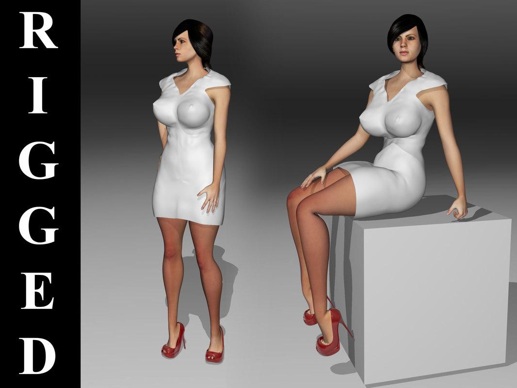 3d model beautiful girl big breasts