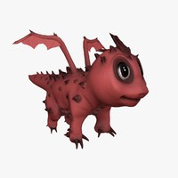 cute dragon rigged 3ds