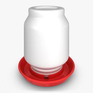 3d 3ds realistic chicken feeder