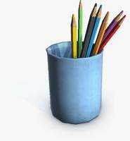 pencils glass 3d model