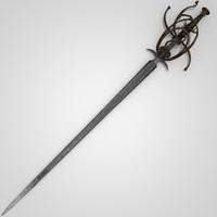 3d model of medieval gothic rapier sword