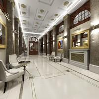 3d model classic interior corridor