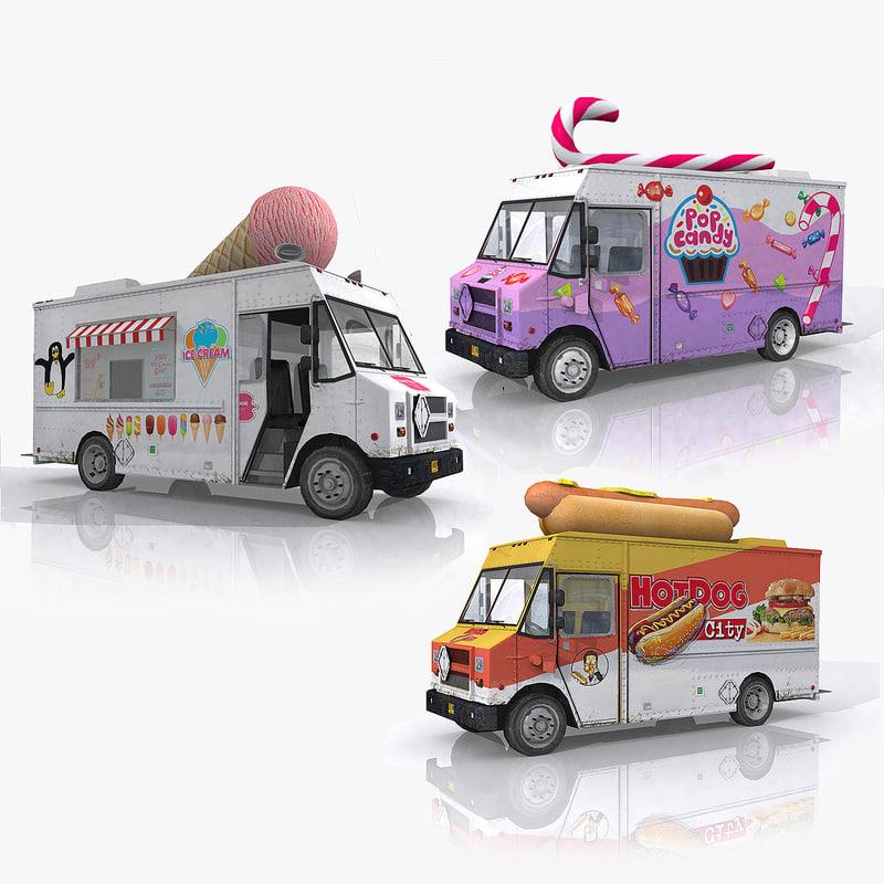 3d model of ice cream truck food