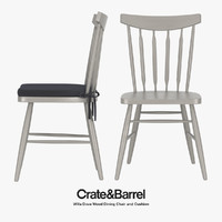 Crate & Barrel - Willa Dove Wood Dining Chair and Cushion