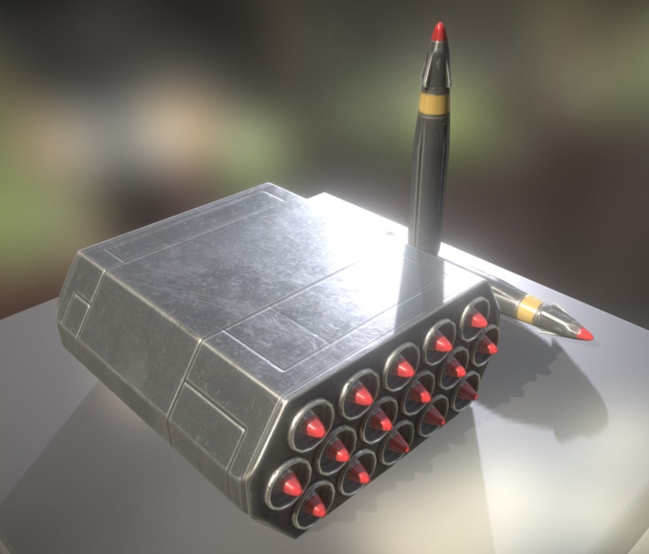 3d model rocket battery air