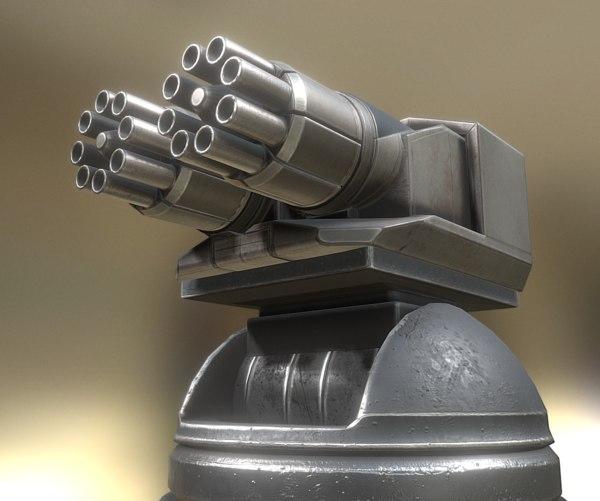 3d futuristic gatling gun tower model