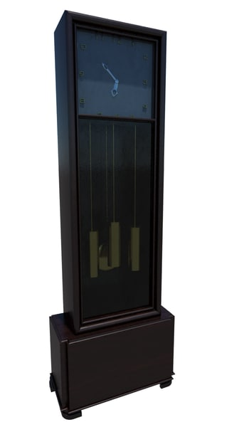old wooden clock 3d 3ds