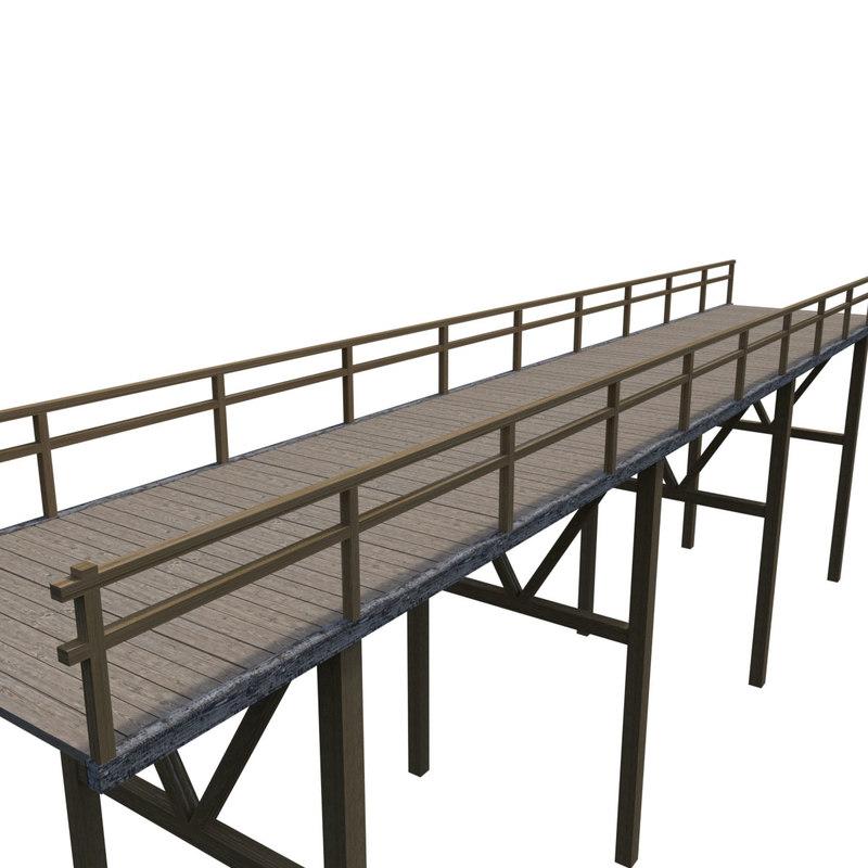 wooden bridge 3d model