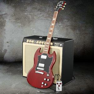 3d model guitar music instrument