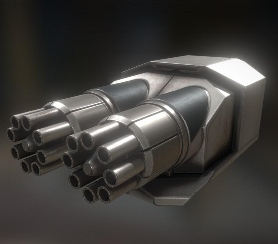 3d model of gatling gun module