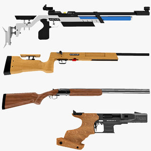 3d model olympic shooting rifles shotgun