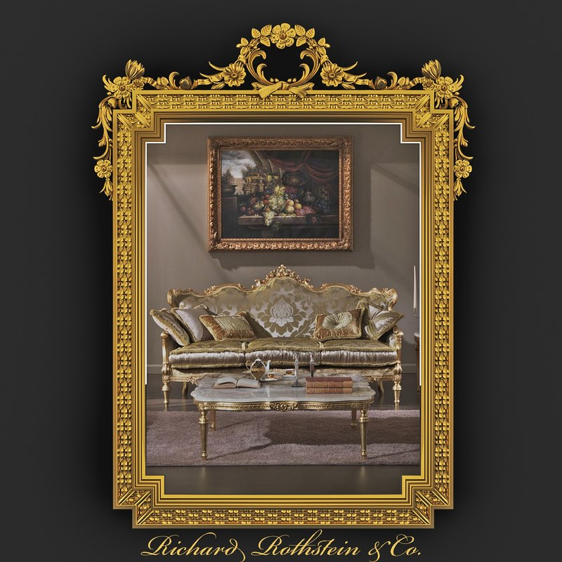 3d ornate gilt mirror