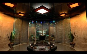 3d interior penthouse living room model