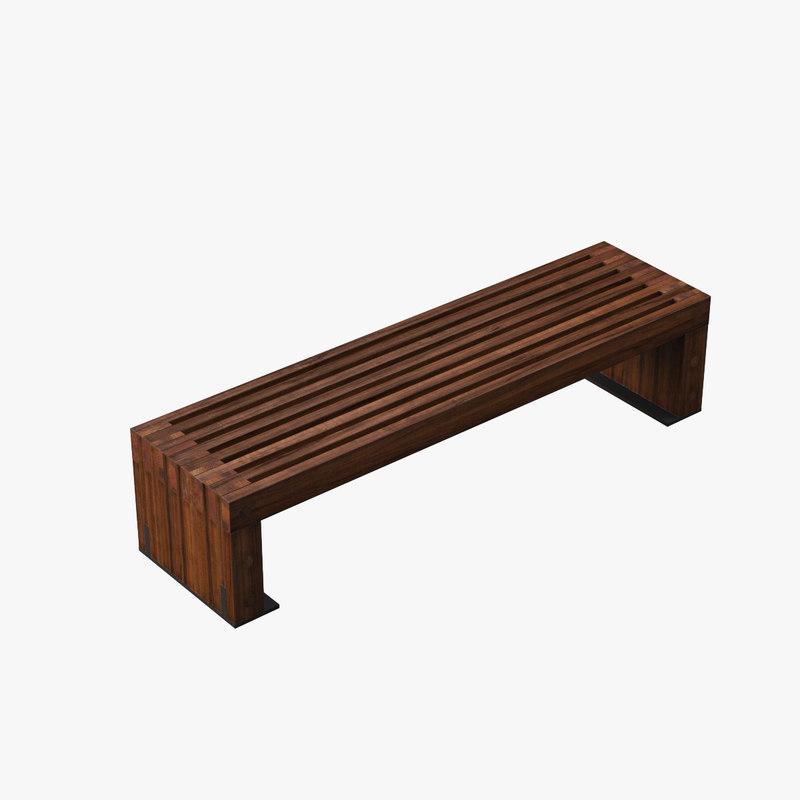 outdoor hudson bench 3d model