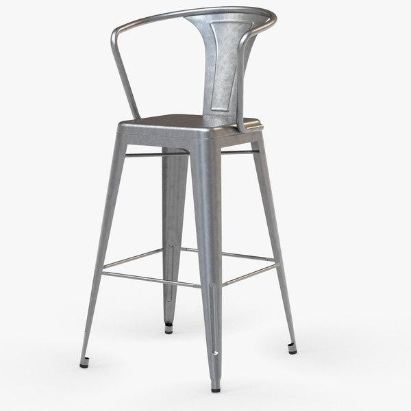 3d model vintage metal bar stool