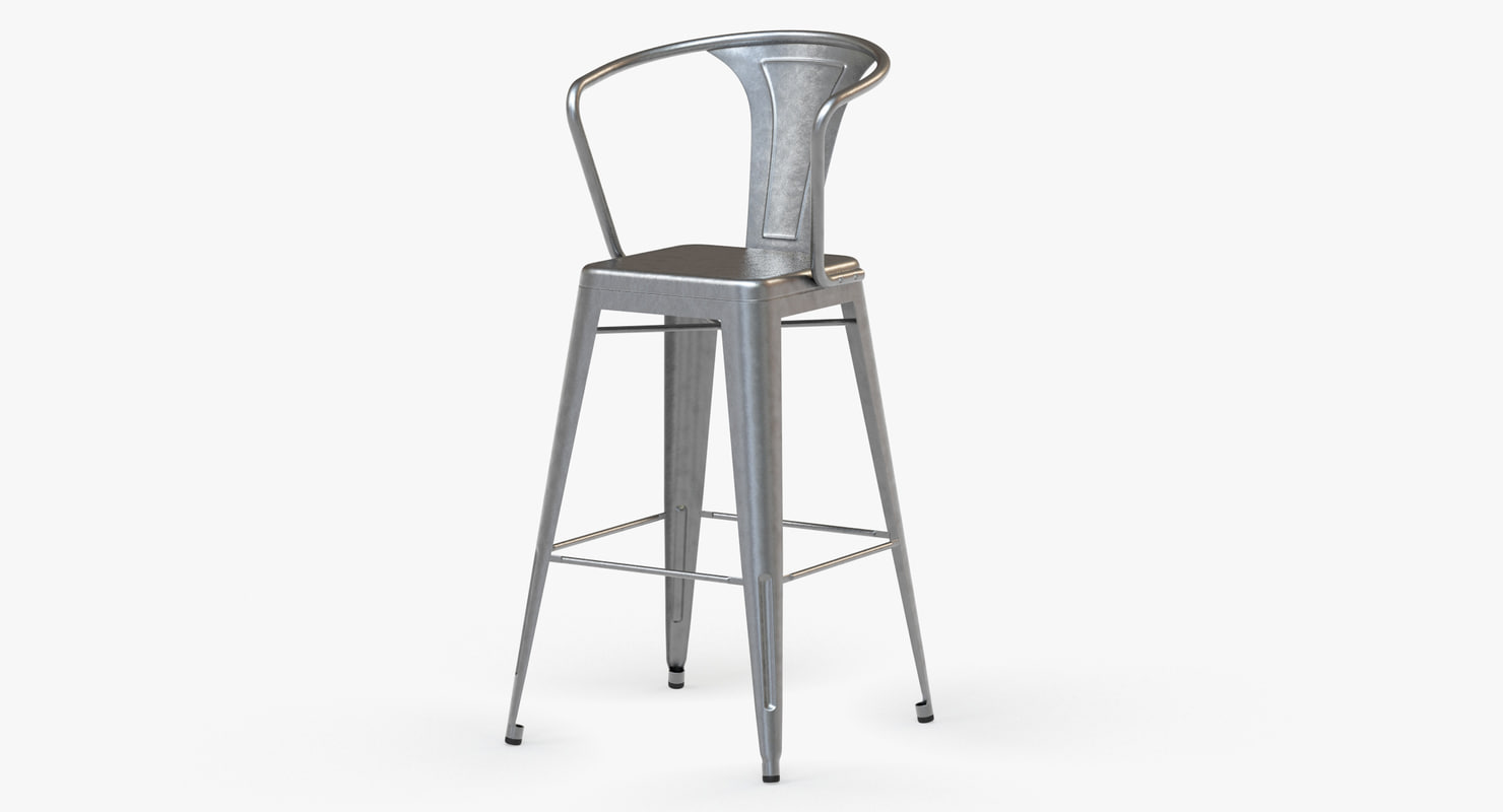 3d model vintage metal bar stool