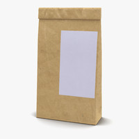 ground coffee bag paper 3d 3ds