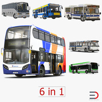 rigged buses 4 bus 3d max
