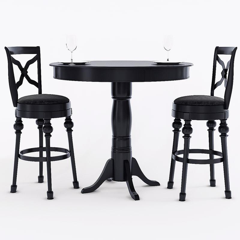 3d Coaster Black Finish Bar Table