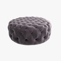 Custom made round ottoman in violet textile