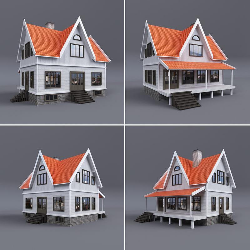 3d model family house terrace