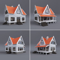 3d model family house terrace